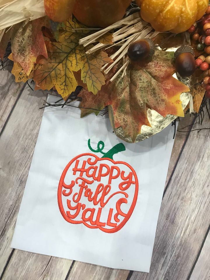 Happy Fall Y'all pumpkin machine Embroidery Design 6x6