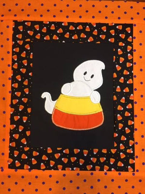Halloween Candy Corn with Boy Ghost machine applique embroidery design 8x12