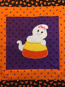 Halloween Candy Corn with Girl with Bow Ghost machine applique embroidery design 8x12