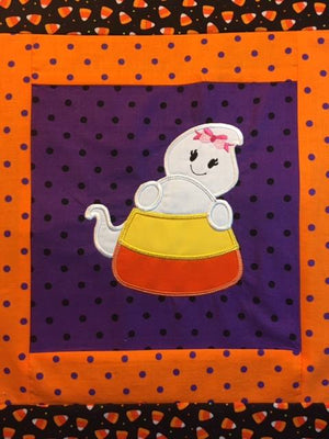 Halloween Candy Corn with Girl with Bow Ghost machine applique embroidery design 6x10