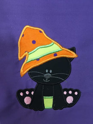 Halloween Witch Kitty Cat machine applique embroidery design 6x10