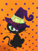 Halloween Witch Kitty machine applique embroidery design 8x12