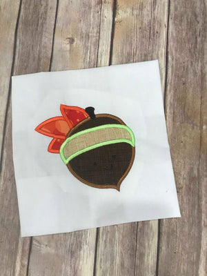 Fall Acorn with Leaves machine applique embroidery design 5x5