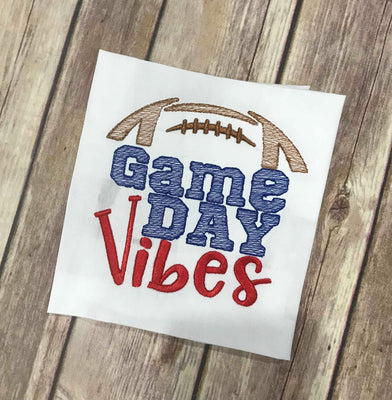 Sketchy Football Game Day Vibes machine embroidery design 4x4