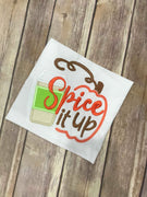 Spice it up Latte Fall Pumpkin machine applique embroidery design 6x6