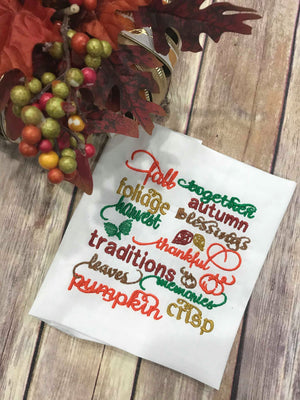 Fall Wording Saying Subway Art Pumpkin machine embroidery design 5x5
