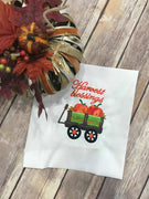 Fall Harvest Blessings Wagon filled with Pumpkin machine embroidery design 5x5