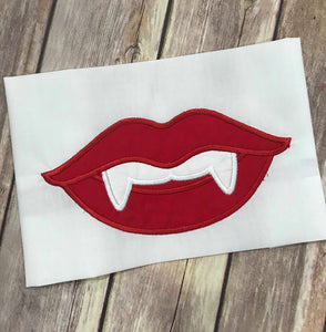 Halloween Vampire Teeth Lips machine applique embroidery design 5x7
