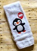 Birthday Penguin with Balloon Applique Machine Embroidery Design 5x7