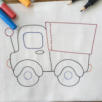 Colorwork Truck bean stitch Machine Embroidery Design