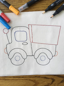 Colorwork Truck bean stitch Machine Embroidery Design 4x4