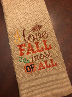 I Love Fall machine Embroidery Design 6x6 Sketchy