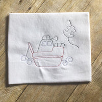 Colorwork Tug boat bean stitch Machine Embroidery Design 4x4