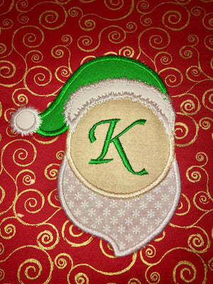 Monogram Santa Frame Applique