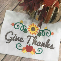 Give Thanks Thanksgiving Fall Sunflower Border Machine Embroidery 5x7