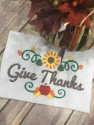 Give Thanks Thanksgiving Fall Sunflower Border Machine Embroidery