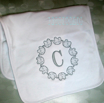 Baby Elephant Train Monogram Frame Motif
