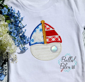 4th of July Sailboat Patriotic Applique Machine Embroidery design