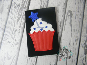 4th of July Cupcake applique Machine Embroidery design
