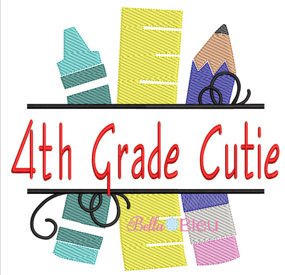 Sketchy 4th Grade Cutie back to school machine embroidery design