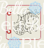 ITH In the Hoop Sea Fish Coloring Page Machine Embroidery Design 4x4 5x7 6x10