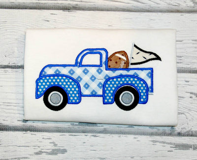 Football Tailgate Vintage Truck Pickup Machine Applique Embroidery Design