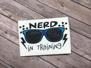 Nerd in Training back to school applique machine embroidery design
