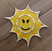 Happy Sun Machine Applique Embroidery design
