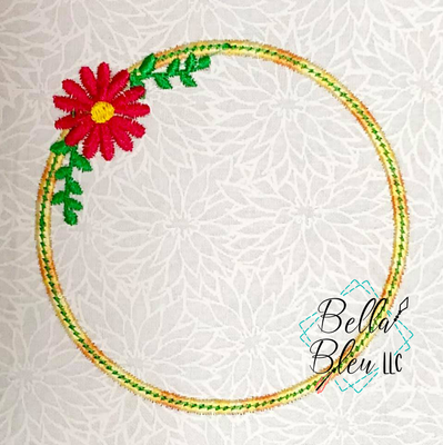 Floral Circle Monogram Frame Embroidery Design