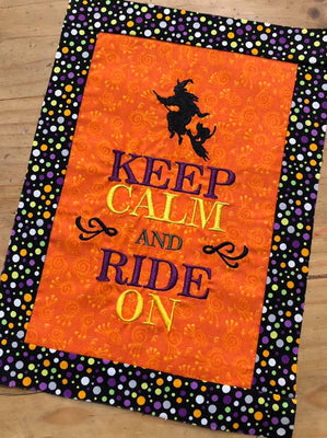 Keep Calm and Ride On Halloween Witch Machine Embroidery Design