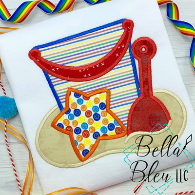 Beach Bucket with toys Applique Machine Embroidery design