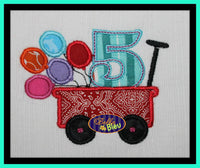 1, 2, 3, 4, 5 Birthday Balloons in Little Red Wagon