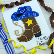 Cowboy Boots & Hat Machine Applique Embroidery design