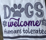 Dogs are Welcome Humans  tolerated Rescue dog sketchy machine Embroidery design