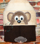 Monkey Hooded Towel Topper Peeker Machine Applique Embroidery Design