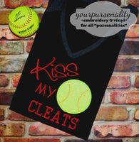 Kiss my Cleats Baseball Softball Applique Machine Embroidery Design