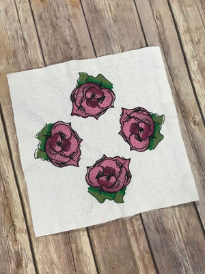 Rose Floral Flower Quilt Block Quilting Motif Machine Embroidery design stipple