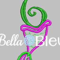 Number 6 #6 Applique Mermaid Tail machine embroidery design