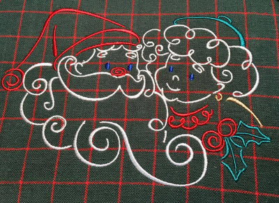Christmas Santa & Mrs. Claus Satin Swirl Machine Embroidery Design