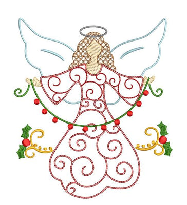 Christmas Angel Bean Swirl Machine Embroidery Design