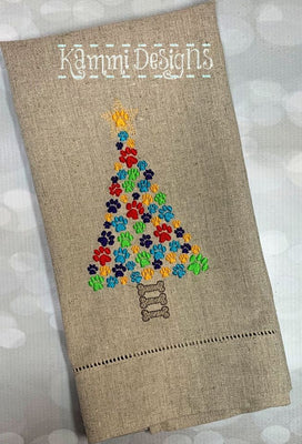 Christmas Dog Bones and Paw Print Tree Machine Embroidery Design