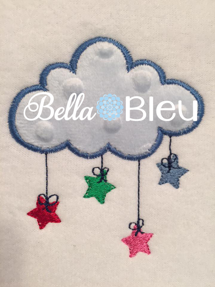Applique Baby Cloud with Stars Machine Embroidery design