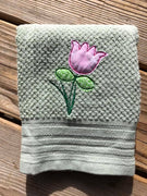 Raggy Tulip flower bean stitch applique