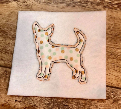 Raggy Chihuahua dog bean stitch applique