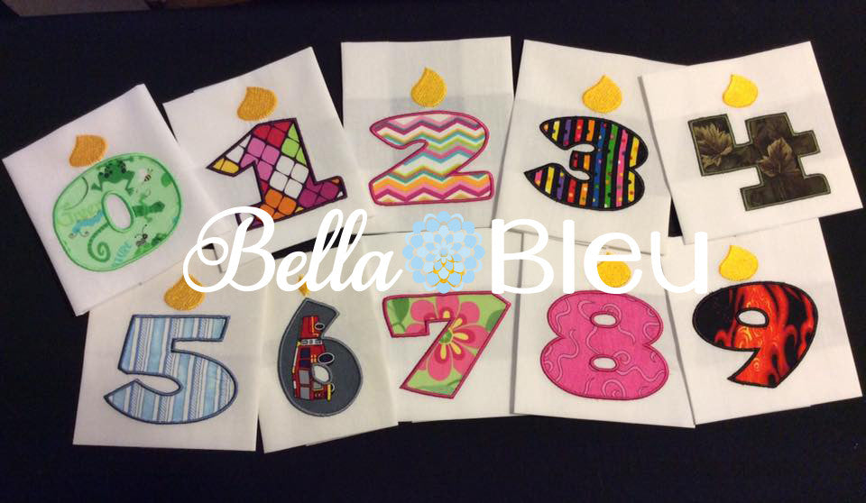 Birthday Candle Candles Numbers Font Machine Applique Embroidery design
