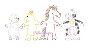 Bean stitch Farm Trio animals machine embroidery design Horse, Sheep, Goat Cow