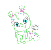 Quick Stitch Girl Caterpillar Insect Bug Machine Embroidery Design COLORWORK