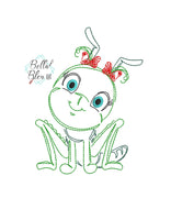 Quick Stitch Girl Grasshopper Insect Bug Machine Embroidery Design COLORWORK