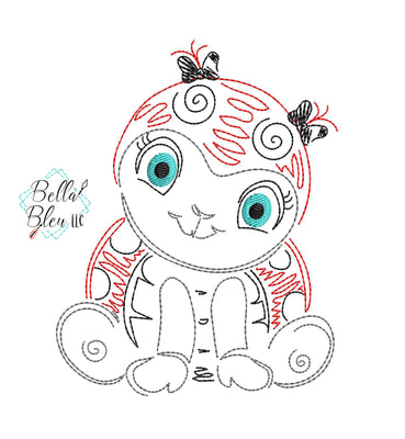 Quick Stitch Girl Ladybug Insect Bug Machine Embroidery Design COLORWORK