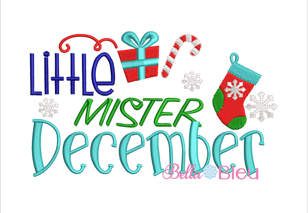 Christmas Little Mister December machine embroidery design
